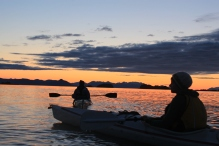 The best time of day for a paddle: sunset.