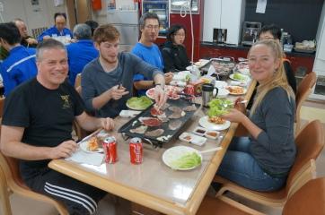 Our research team (minus photographer Brett) enjoying Korean barbeque.