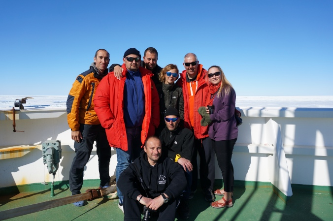 My Italian friends and colleagues and I on the bow of the R/V Araon, departing Terra Nova Bay en route for New Zealand.