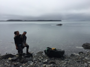Kate and I on the shores of Strawberry Island with one of Glacier Bay's 'regular' humpback whales.